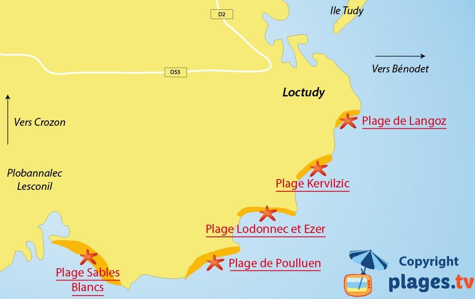 Plan des plages de Loctudy en Bretagne
