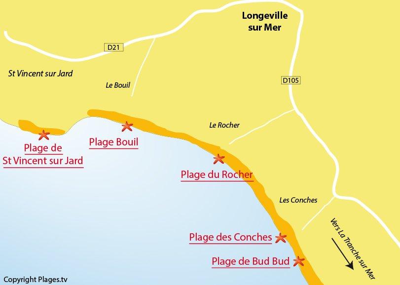 Plan de la plage de Longeville sur Mer - Vendée