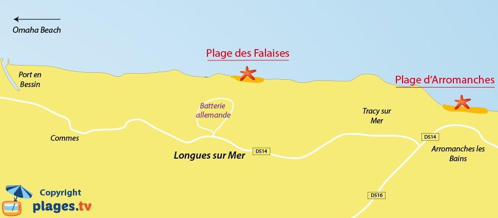 Plan des plages de Longues sur Mer dans le Calvados