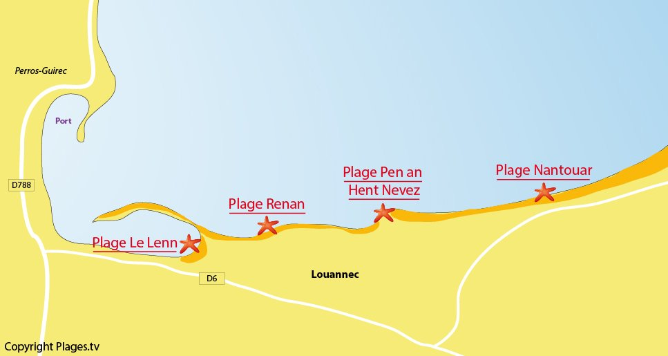 Plan des plages à Louannec