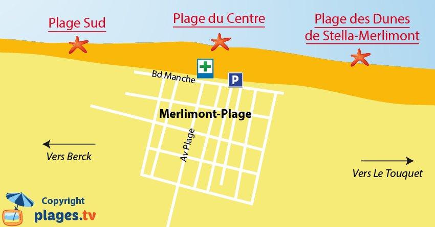 Plan des plages de Merlimont dans le nord de la France
