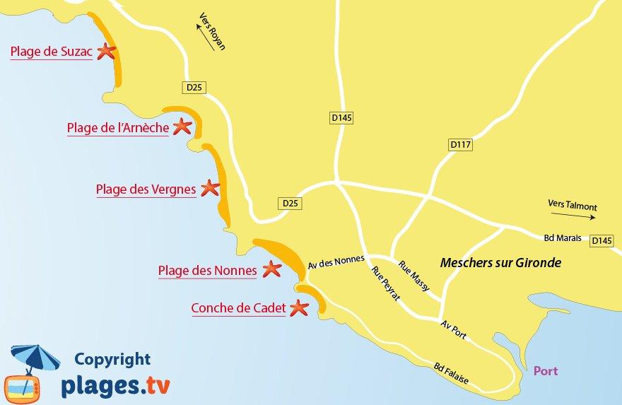 Plan des plages de Meschers sur Gironde