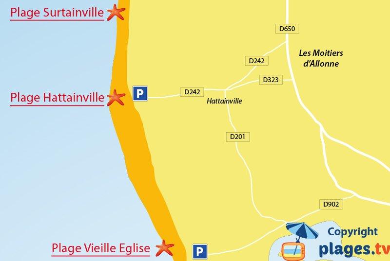Plan des plages de Moitiers d'Allonne en Normandie