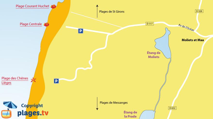 Plan des plages de Moliets et Maa dans les Landes