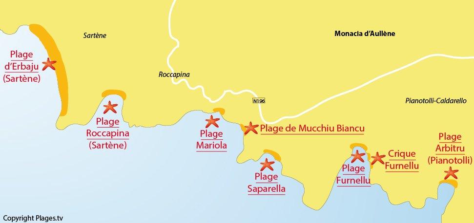 Plan des plages de Monacia d'Aullène