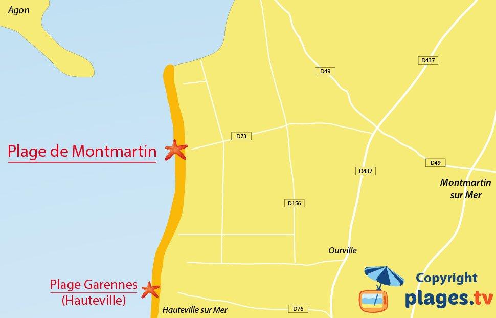 Plan des plages de Montmartin sur Mer dans le Cotentin