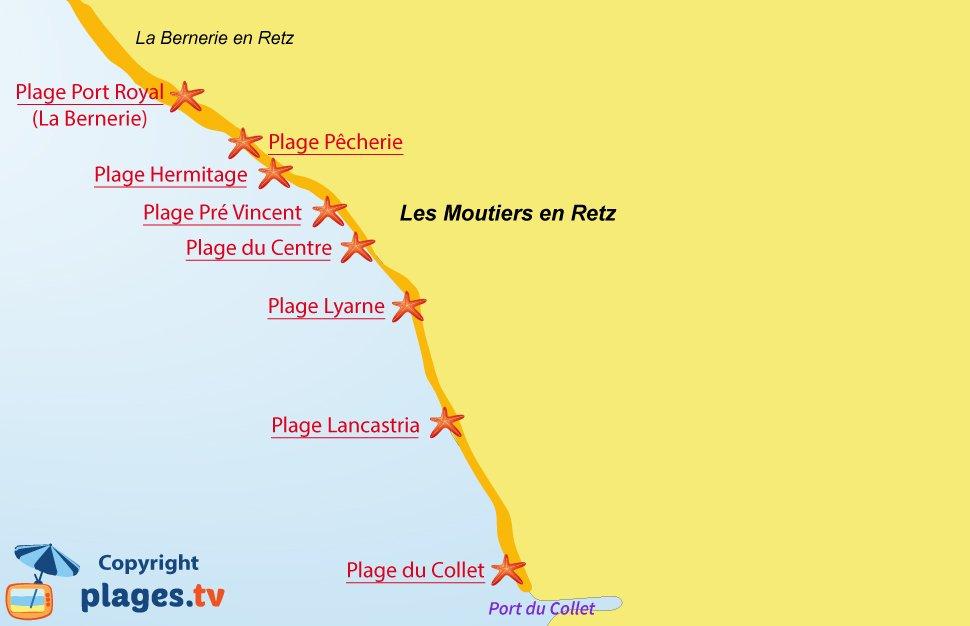 Plan des plages Moutiers en Retz en Loire Atlantique
