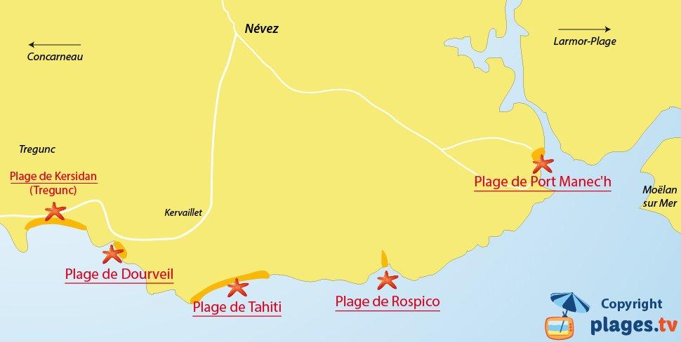 Plan des plages de Nevez en Bretagne