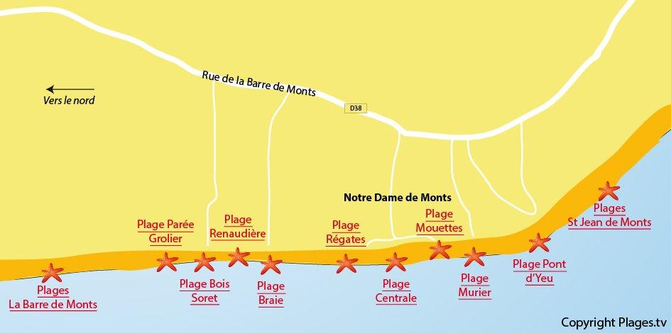 Plan des plages de Notre Dame de Monts en Vendée