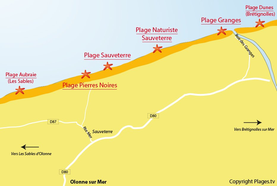 Plan des plages à Olonne sur Mer