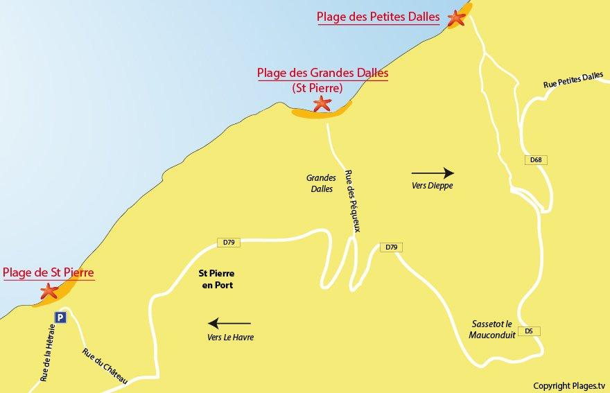 Plan de la plage des Petites Dalles et des villages voisins