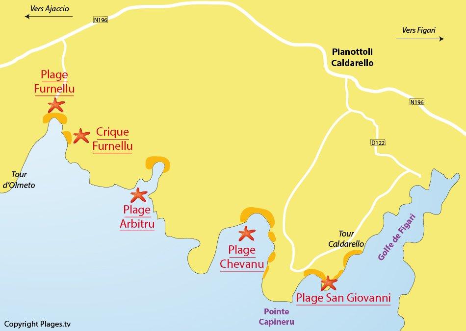Plan des plages de Pianottoli Caldarello en Corse