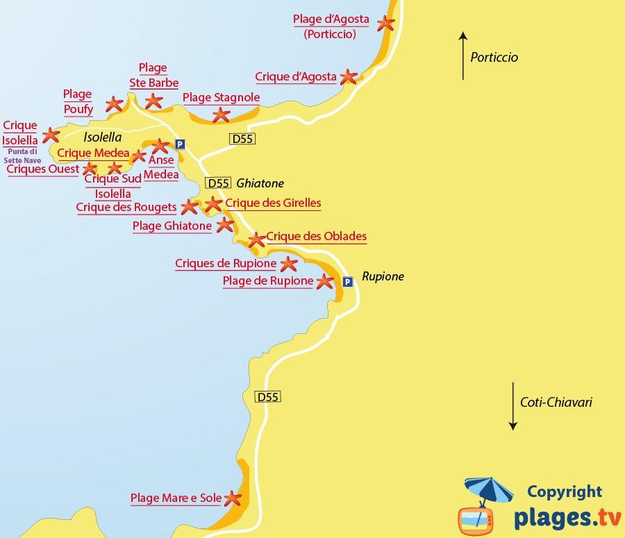 Plan des plages de Pietrosella dans le golfe d'Ajaccio en Corse