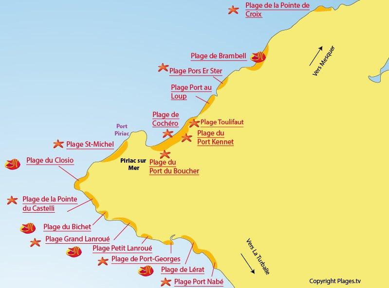 Carte des plages de Piriac sur Mer