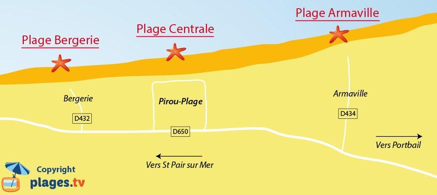 Plan des plages de Pirou dans la Manche