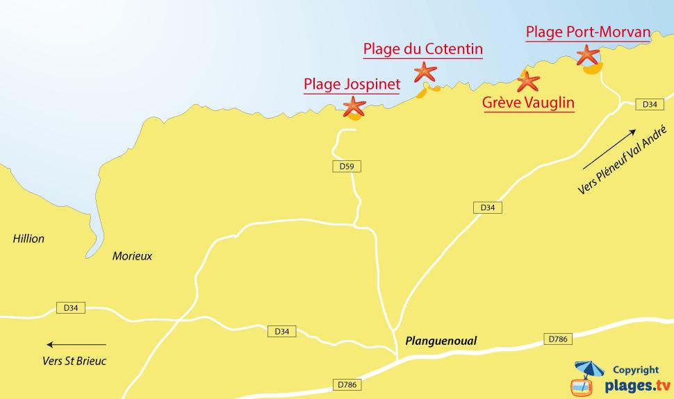 Plan des plages de Planguenoual - Bretagne