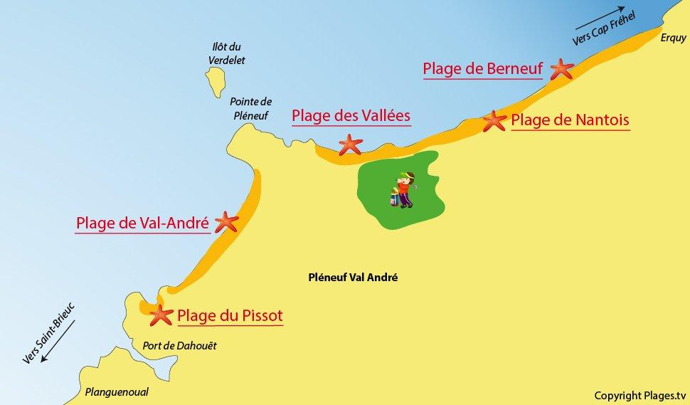 Plan des plages de Pléneuf Val André - Bretagne