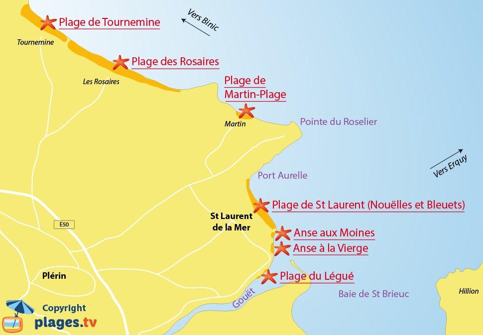 Plan des plages de Plérin en Bretagne