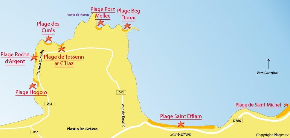 Plan des plages de Plestin les Grèves