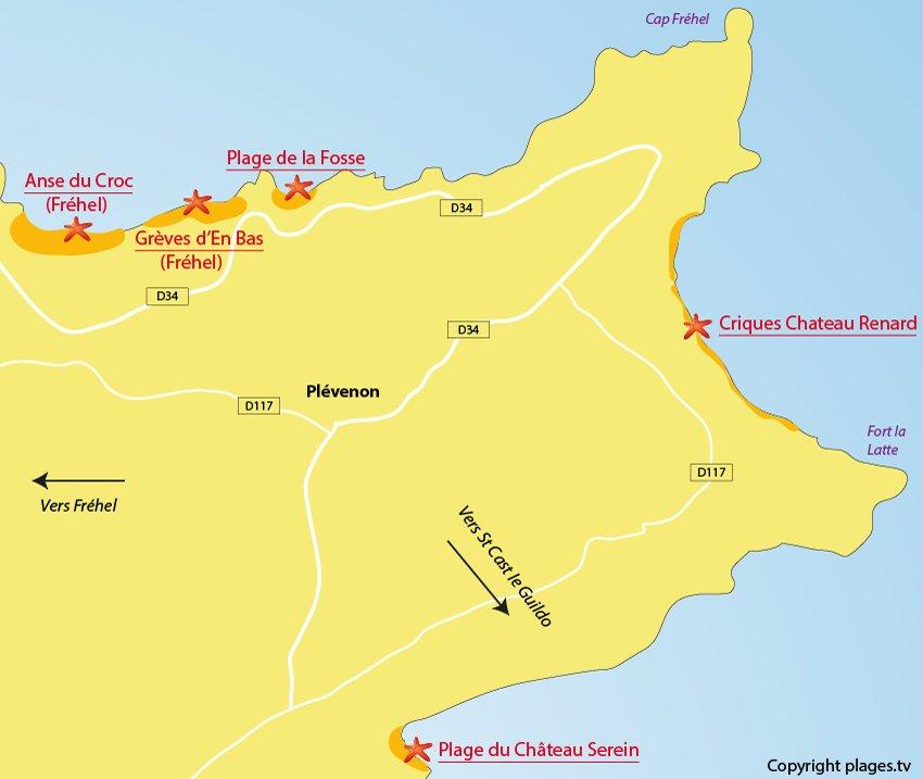 Plan des plages de Plévenon - Cap Fréhel