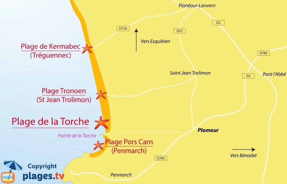 Plan des plages de Plomeur en Bretagne