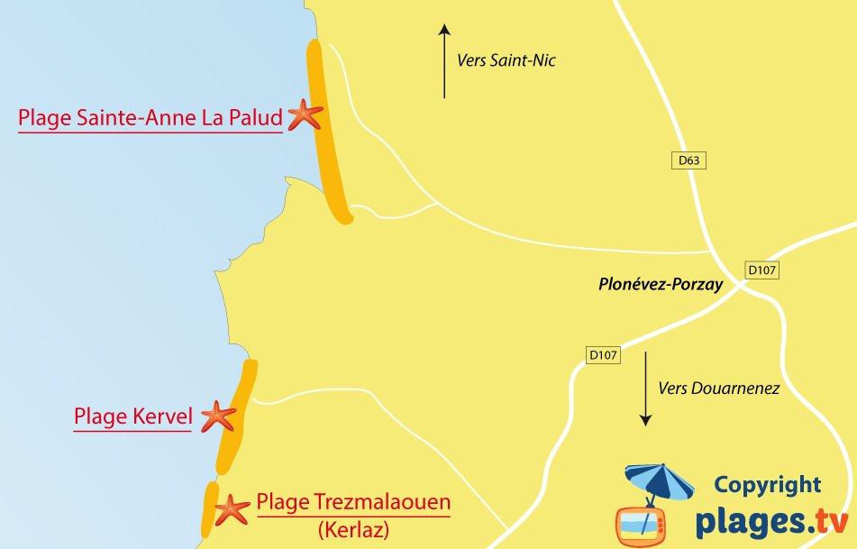Plan des plages de Plonévez-Porzay en Bretagne