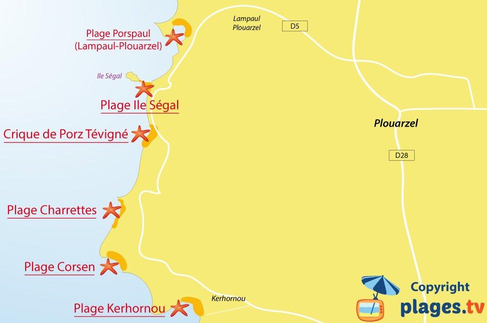 Plan des plages de Plouarzel en Bretagne