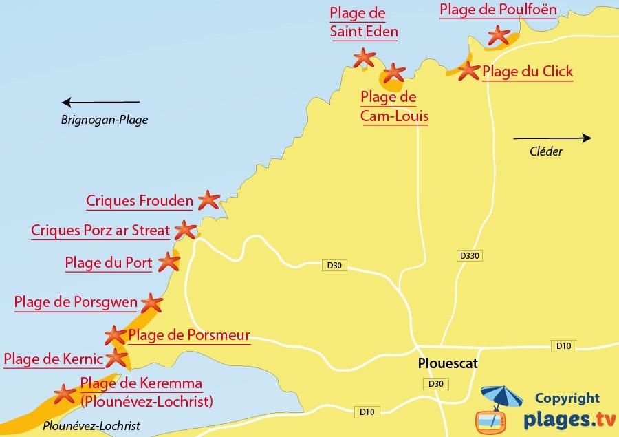 Plan des plages de Plouescat dans le Finistère
