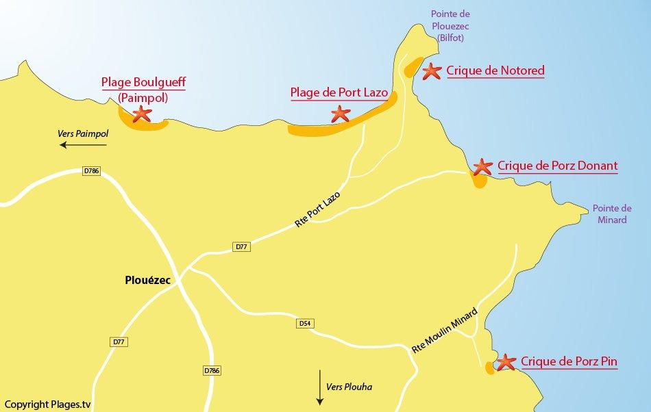 Plan des plages de Plouézec en Bretagne