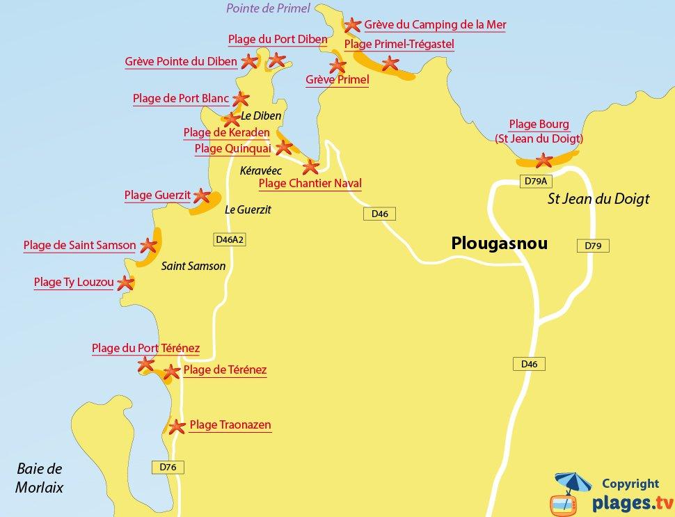 Plan des plages de Plougasnou en Bretagne