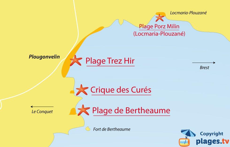 Plan des plages de Plougonvelin en Bretagne dans le Finistère
