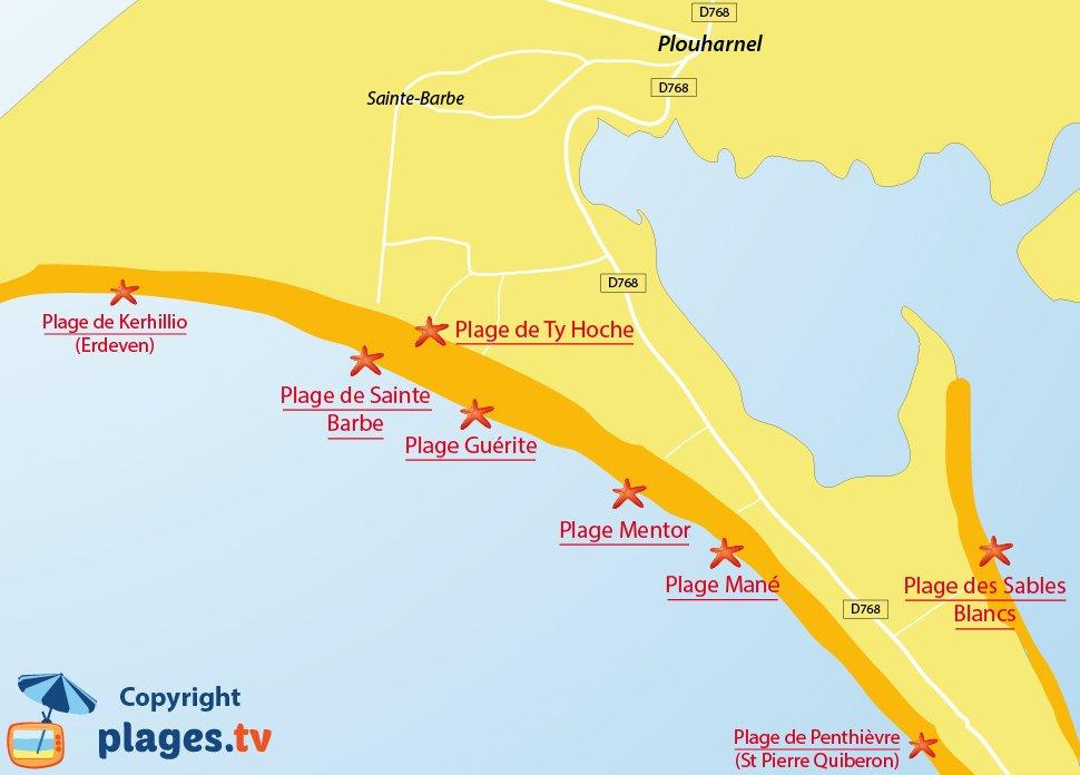 Plan des plages de Plouharnel dans le Morbihan - Bretagne