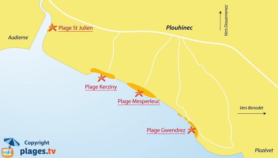 Plan des plages à Plouhinec dans le Finistère