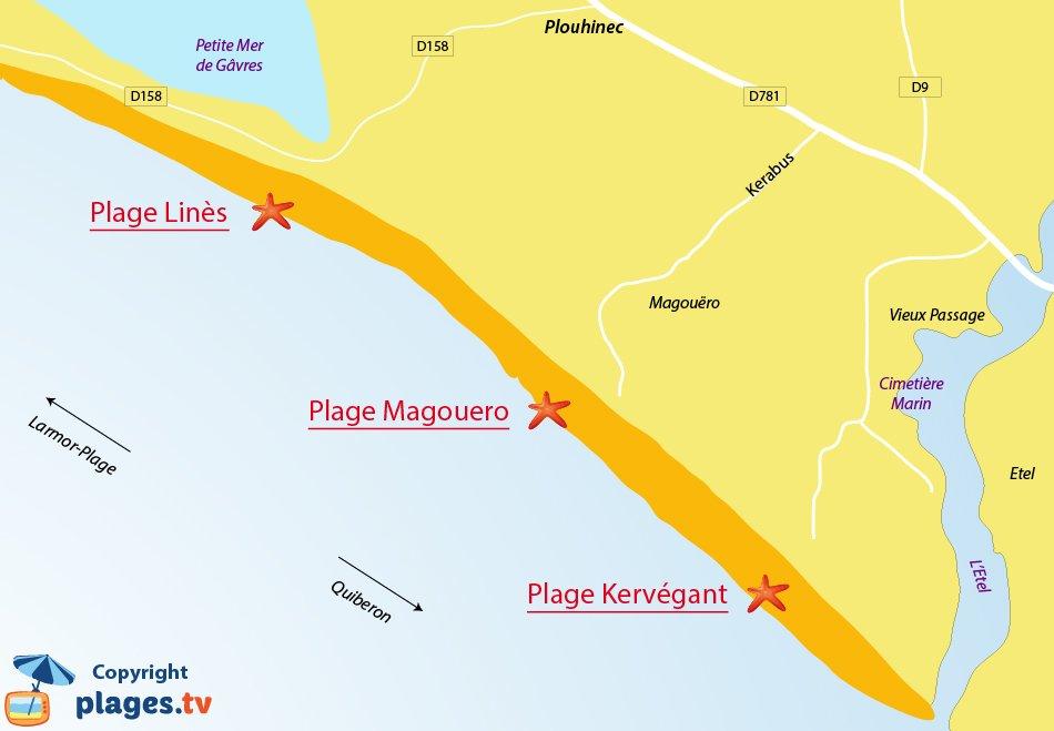 Plan des plages de Plouhinec en Bretagne
