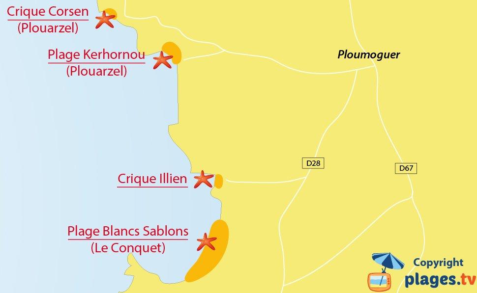 Plan des plages de Ploumoguer en Bretagne