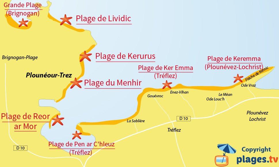 Plan des plages de Plounéour-Trez en Bretagne