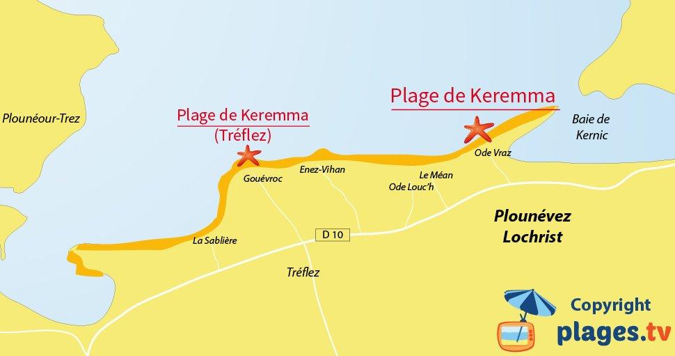 Plan des plages de Plounévez-Lochrist en Bretagne - Keremma