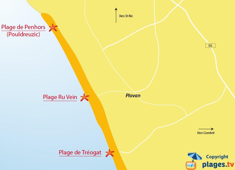 Plan des plages de Plovan en Bretagne