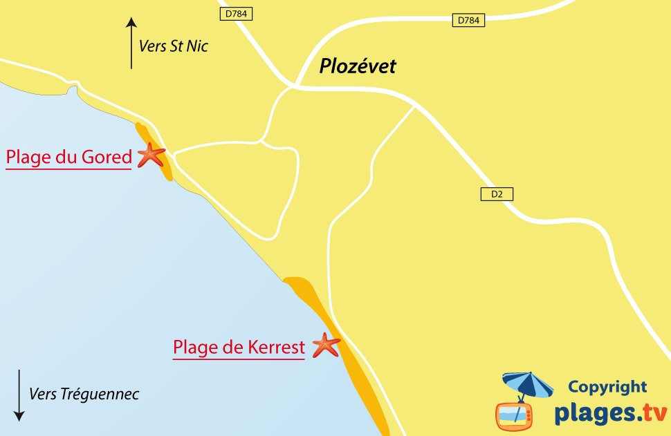 Plan des plages de Plozévet en Bretagne