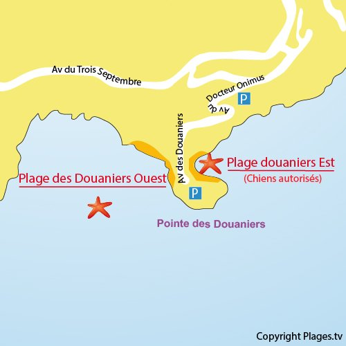 Map of Douaniers beach in Cap d'Ail - France