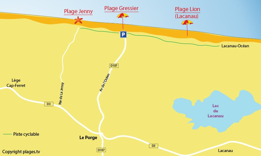 Plan des plages au Porge en Gironde