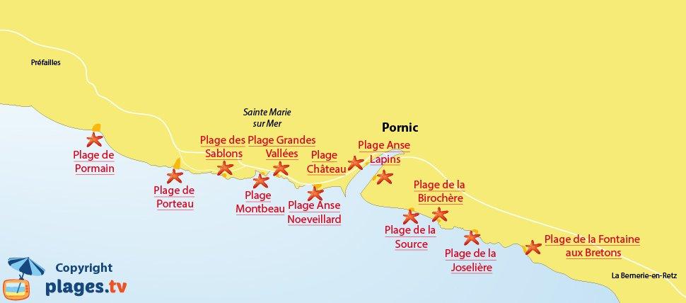 Plan des plages de Pornic