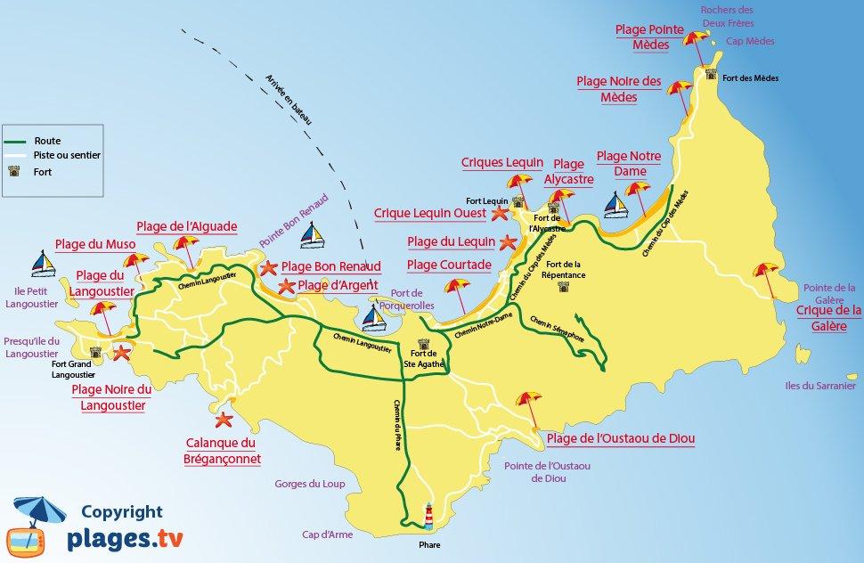 Plan des plages de Porquerolles dans le Var