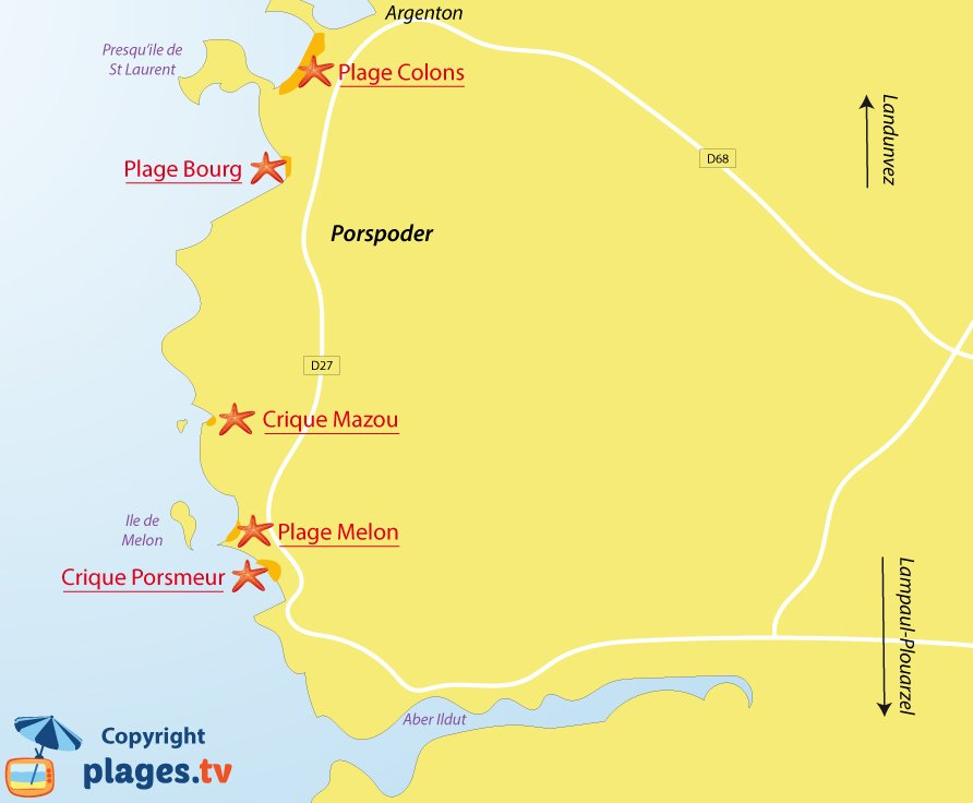 Plan des plages de Porspoder en Bretagne