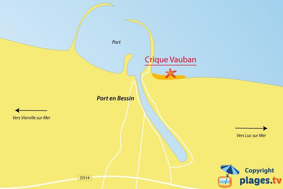 Plan des plages de Port en Bessin en Normandie