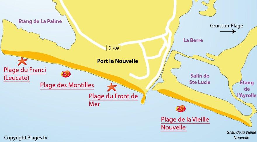 Plan de la plage de Port la Nouvelle dans l'Aude