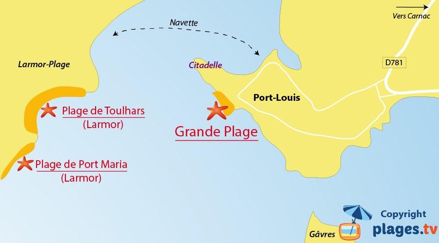 Plan des plages de Port-Louis en Bretagne (56)