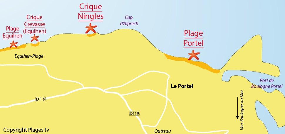 Plan des plages du Portel