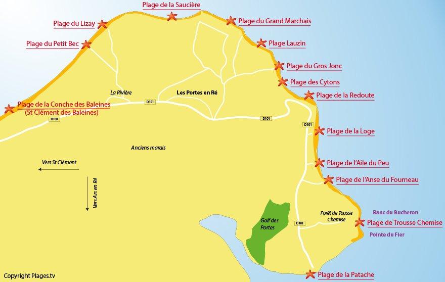 Plan des plages de Les Portes en Ré - Ile de Ré