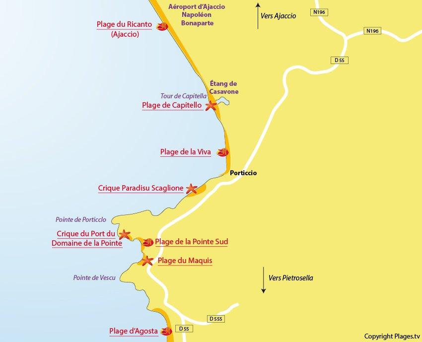 Plan des plages de Porticcio en Corse